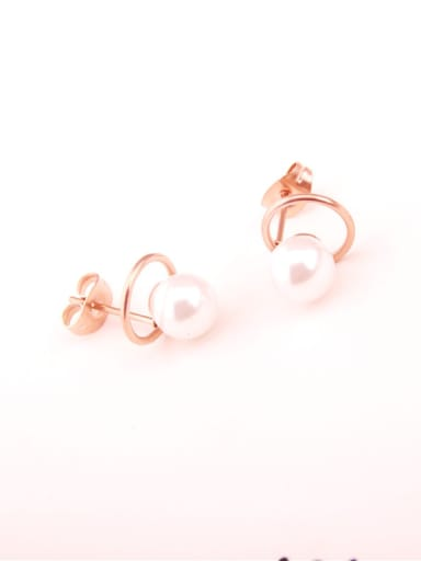 Rose Gold Plated Artificial Pearls Stud Earrings