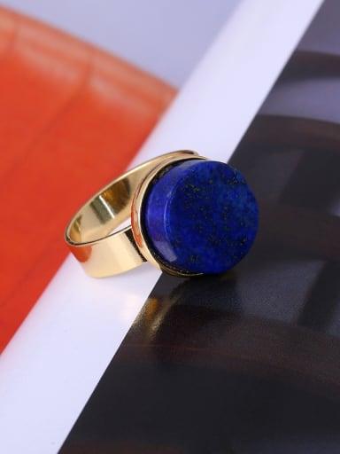 Elegant Blue Round Shaped Gemstone Ring