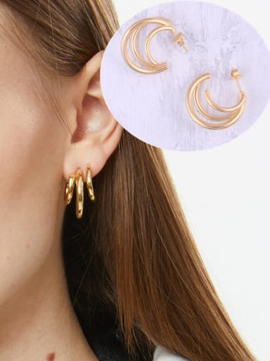 Titanium With Gold Plated Simplistic  Hollow Geometric Hoop Earrings