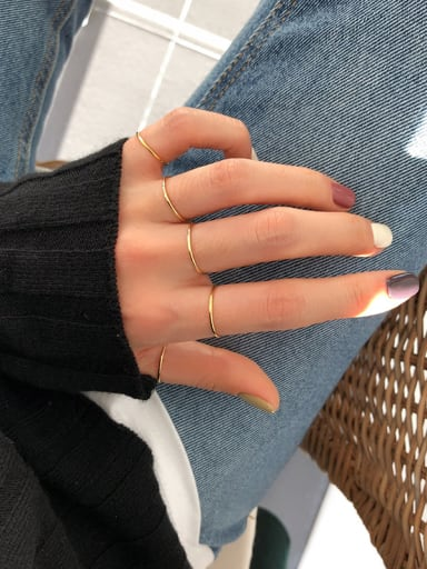 925 Sterling Silver With Gold Plated Simplistic Round Midi Rings