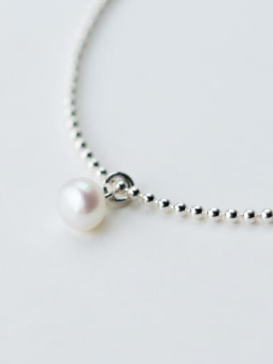 Fresh Adjustable Length Artificial Pearl Silver Bracelet