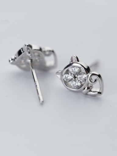 All-match Cat Shaped Shimmering Rhinestones Silver Ring