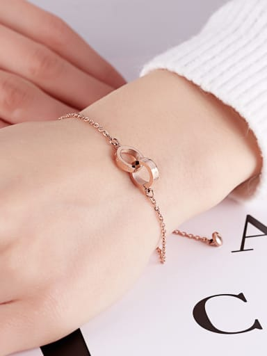 Stainless Steel With Rose Gold Plated Fashion Round Double ring Bracelets