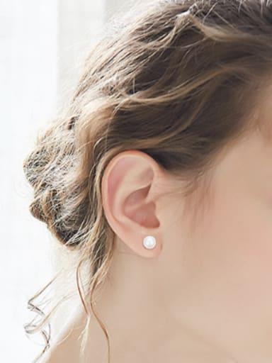 Simple Little Artificial Pearl 925 Silver Stud Earrings