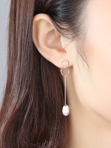 Pure silver double ring design natural pearl earrings