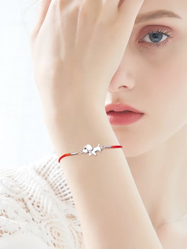 Simple Little Dog Red Rope 925 Silver Bracelet