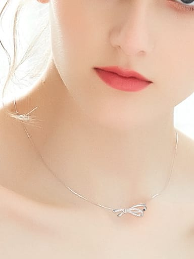 Simple Bowknot Cubic Zircon Silver Necklace