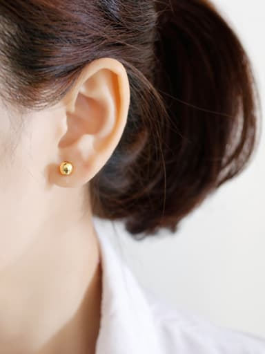 925 Sterling Silver With 18k Gold Plated Classic Ball Stud Earrings