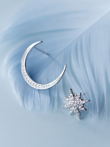 925 Sterling Silver With Platinum Plated Simplistic Star Moon Stud Earrings