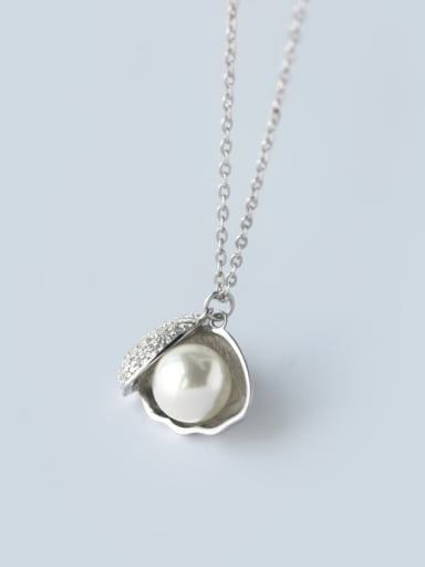 Fashion Shell Shaped Freshwater Pearl S925 Silver Pendant