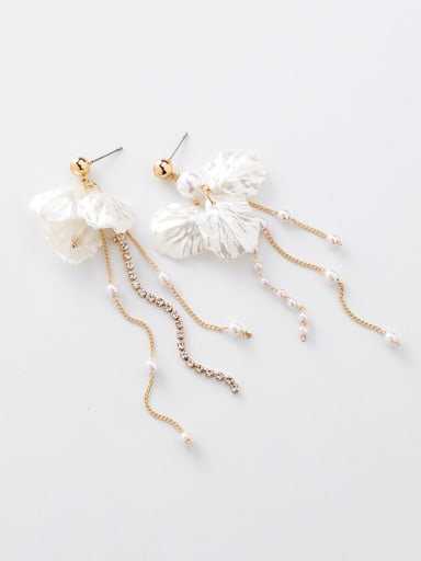 Alloy With Imitation Gold Plated Bohemia Flower Tassel Earrings