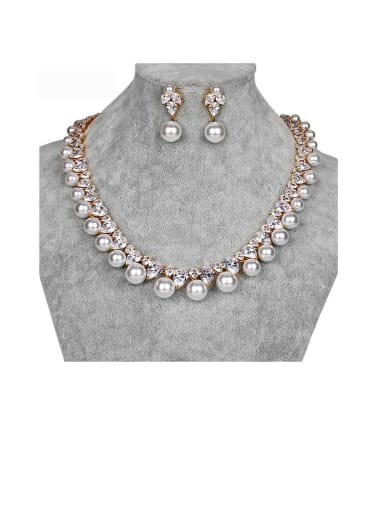 Copper With Artificial Pearl Luxury Round  Earrings And Necklaces 2 Piece Jewelry Set