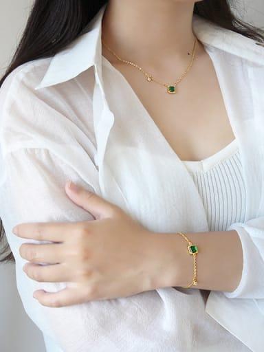 Pure silver geometric square Emerald Necklace