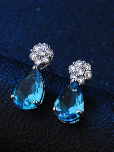 Copper With Glass stone Classic Water Drop Stud Earrings