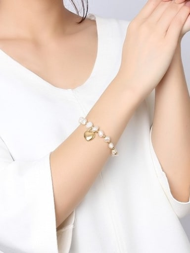 All-match Gold Plated Heart Shaped Freshwater Pearl Bracelet