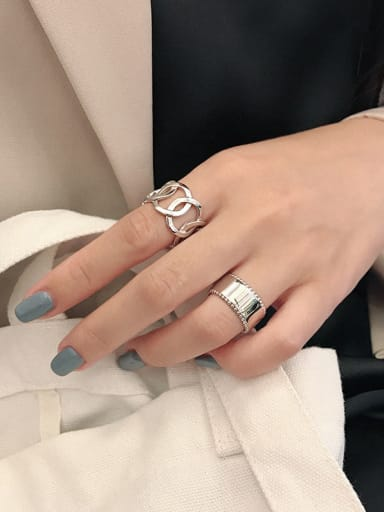 925 Sterling Silver With Platinum Plated Simplistic Hollow Geometric Midi Rings