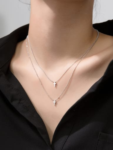 925 Sterling Silver With Smooth  Simplistic Double Cross  Necklaces