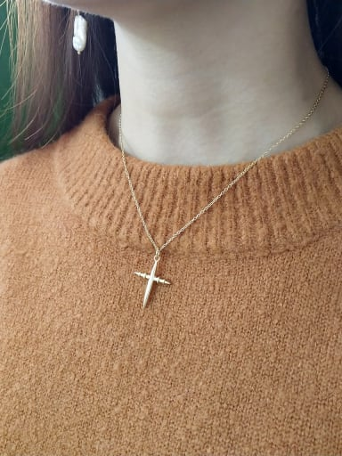 Sterling silver cross gold necklace