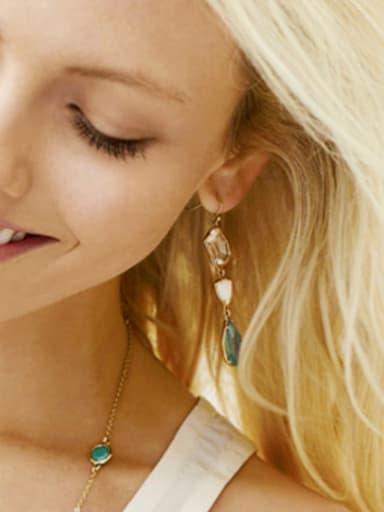 Alloy Fashionable Semi-Precious Stones Crystal Water Drop hook earring