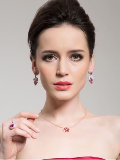 Copper With  Cubic Zirconia Delicate Friut Grape Drop Earrings