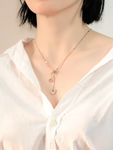 Stainless Steel With Rose Gold Plated Fashion Heart with Rome number Necklaces
