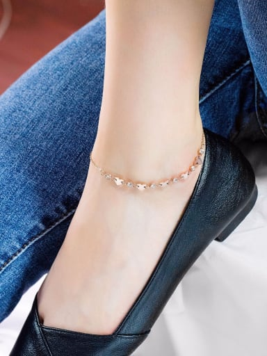 Stainless Steel With Rose Gold Plated Fashion Heart Anklets