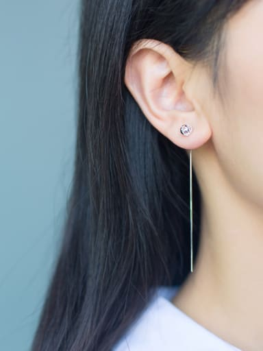 S925 Silver Hollow Sphere drop threader earring
