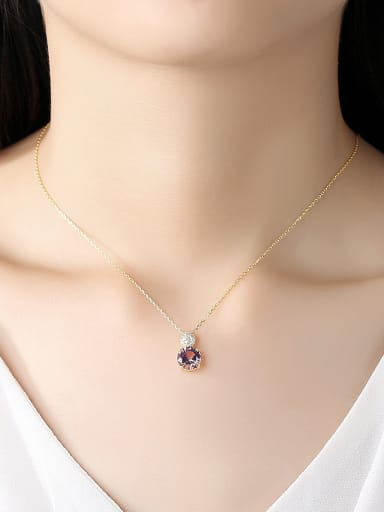 925 Sterling Silver With Gold Plated Simplistic Round Necklaces