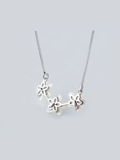 S925 Silver Natural Shell Flower zircon Necklace