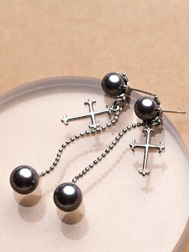 Exquisite Cross Shaped Black Artificial Pearl Silver Drop Earrings