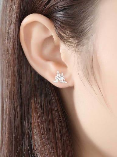 925 Sterling Silver Simple wild bat castle sterling silver earrings