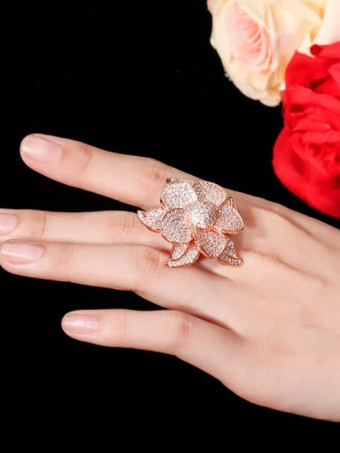 Copper With Cubic Zirconia Luxury Flower Statement Rings