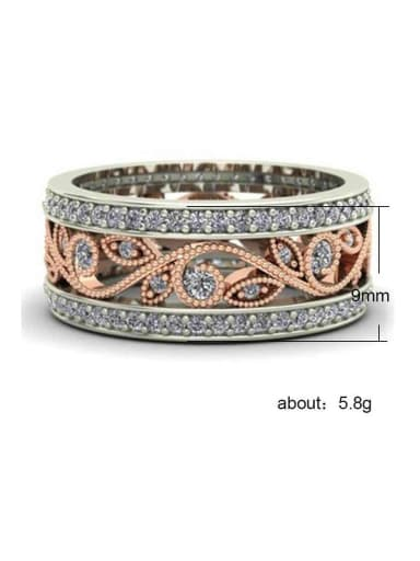 Copper whith Cubic Zirconia  Two-color plating leaf ring