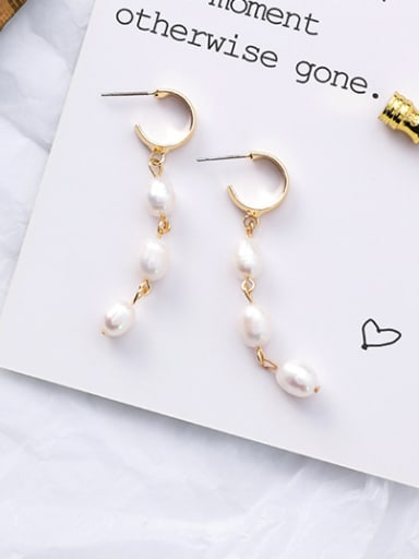 Alloy With Imitation Pearl Trendy Charm Stud Earrings