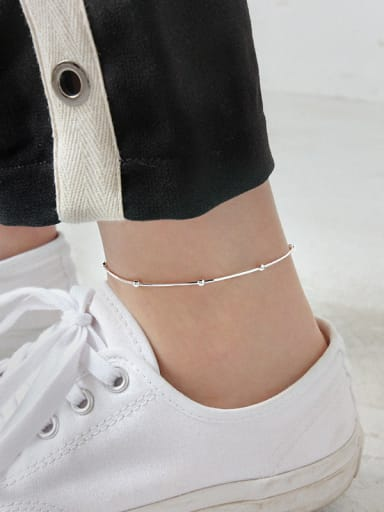 925 Sterling Silver With Silver Plated Simplistic Beads Snake bone chain Anklets