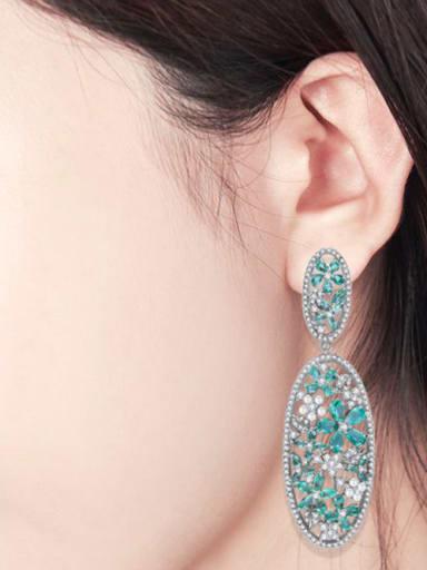 Copper With Gun Plated Luxury Flower Chandelier Earrings