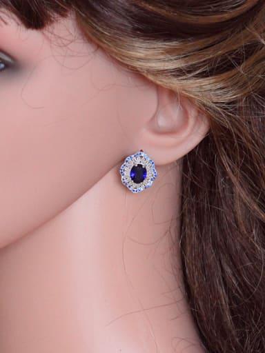 Exquisite AAA Color Zircons Stud Cluster earring