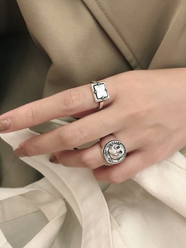 925 Sterling Silver With Antique Silver Plated Vintage Geometric Midi Rings