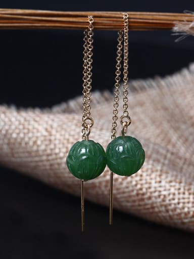 Natural Jade Lotus Line Earrings
