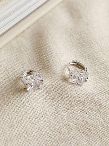 925 Sterling Silver Cubic Zirconia Classic Geometric Earrings