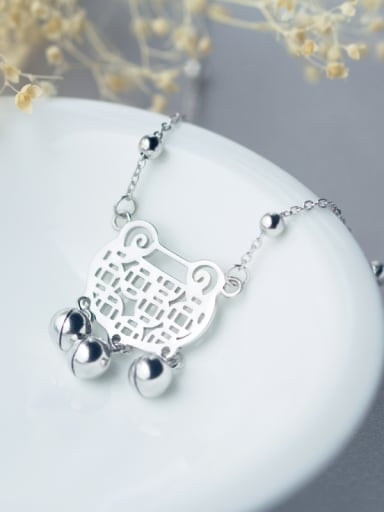 All-match Locket Shaped Tassel S925 Silver Necklace
