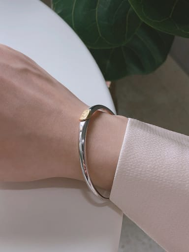 925 Sterling Silver With Platinum Plated Fashion Face Bangles