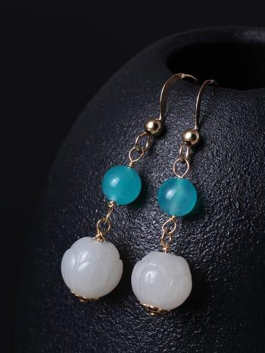 Noble Lotus Jade Drop Earrings