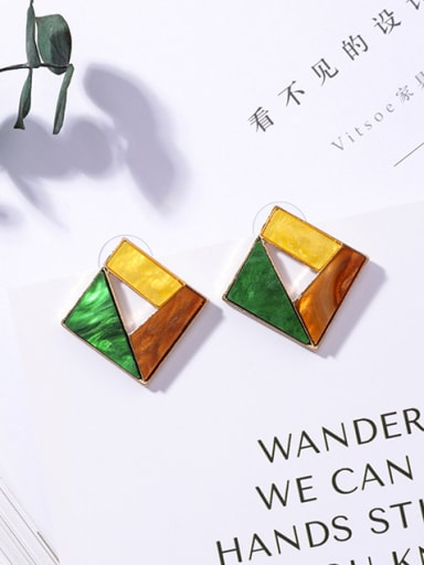Alloy With Acrylic Texture Coloured Stud Earrings