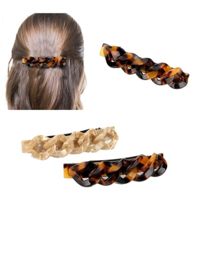 Alloy With Cellulose Acetate Fashion Leopard Irregular Barrettes & Clips