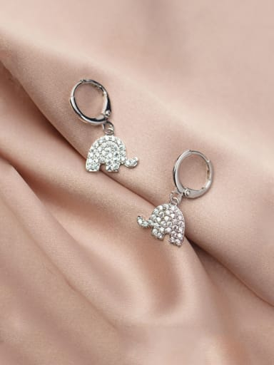 925 Sterling Silver With Platinum Plated Cute Elephant  Clip On Earrings