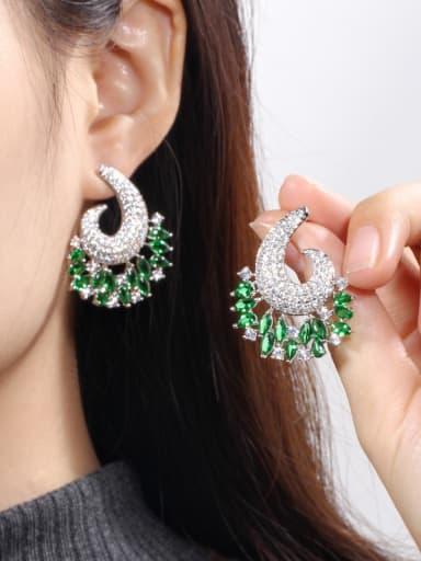 Copper With  Cubic Zirconia  Luxury Water Drop Cluster Earrings