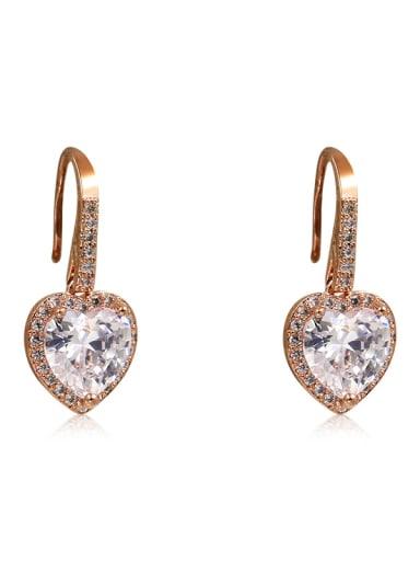Copper With  Cubic Zirconia Simplistic Heart Hook Earrings