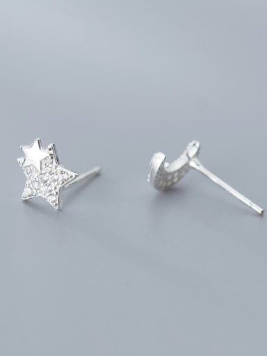 925 Sterling Silver With Platinum Plated Simplistic Stars moon asymmetry Stud Earrings