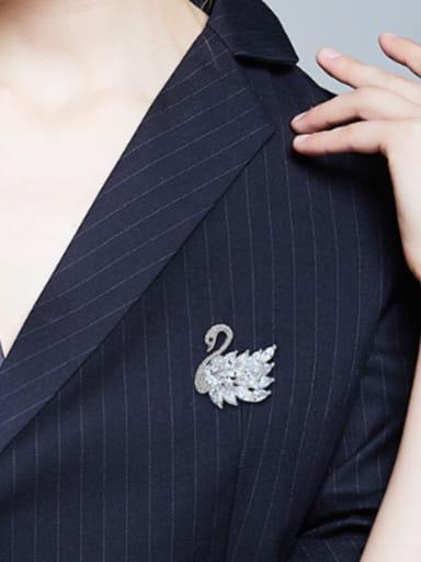 Fashion Elegant Marquise Crystals Swan Brooch